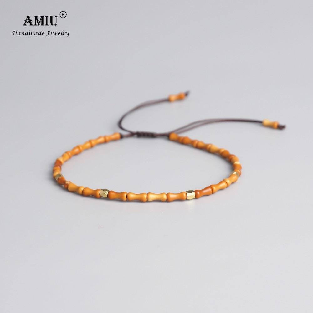 AMIU 6x3mm Handcarved Natural Olive Nut Bracelets For Men Women Reiki Prayer Stones Super Thin Bead Tibetan Buddhist Bracelet