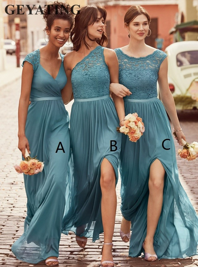 2019 Black One Shoulder Long Bridesmaid Dresses Beach Pleats Chiffon Split Beach Wedding Party Gowns Reception Dress Custom Made Bridesmaid Dresses Wedding Party Dress