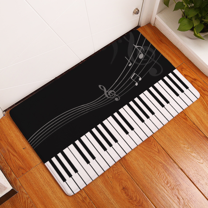 CAMMITEVER Music Piano Musical Note Fluffy Child Rug For Living Room Kids Bedroom Bathroom Mats