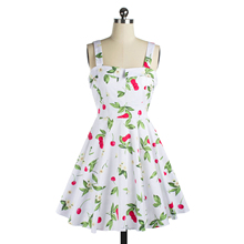 Classy Cherry Print Vintage Audrey Hepburn Style 1950's Rockabilly Swing Dresses