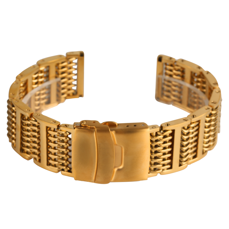 Top Luxury 20/22/24mm Golden Wristband Stainless Steel Mesh Band Strap Adjustable Replacement Bangle Men Women Wrist Watch ToolTop Luxury 20/22/24mm Golden Wristband Stainless Steel Mesh Band Strap Adjustable Replacement Bangle Men Women Wrist Watch Tool