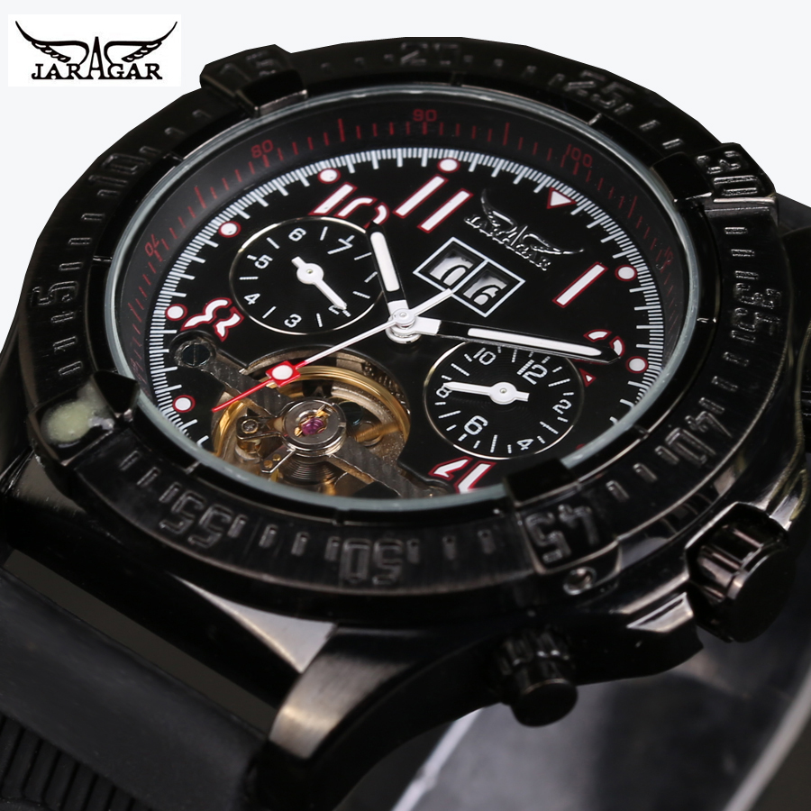 лучшая цена 2018 JARAGAR Gear Black Rubber Band Men Watch Top Brand Luxury New Fashion Self-winding Automatic Mechanical Wrist Men's Watch