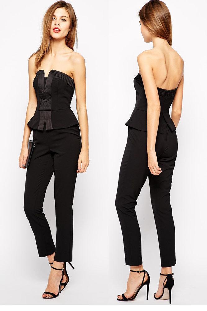 2016 Fashion Ladies Sexy Corset Jumpsuit Black Long Pants ...
