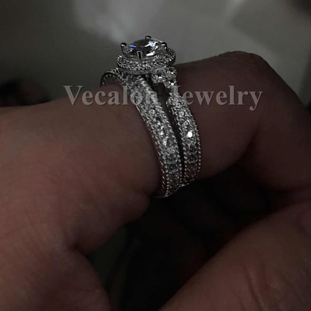 Vecalon Antike Schmuck Blume Frauen ring Runde cut 2ct AAAAA Zirkon Cz 925 Sterling Silber Weibliche hochzeit Band ring Set