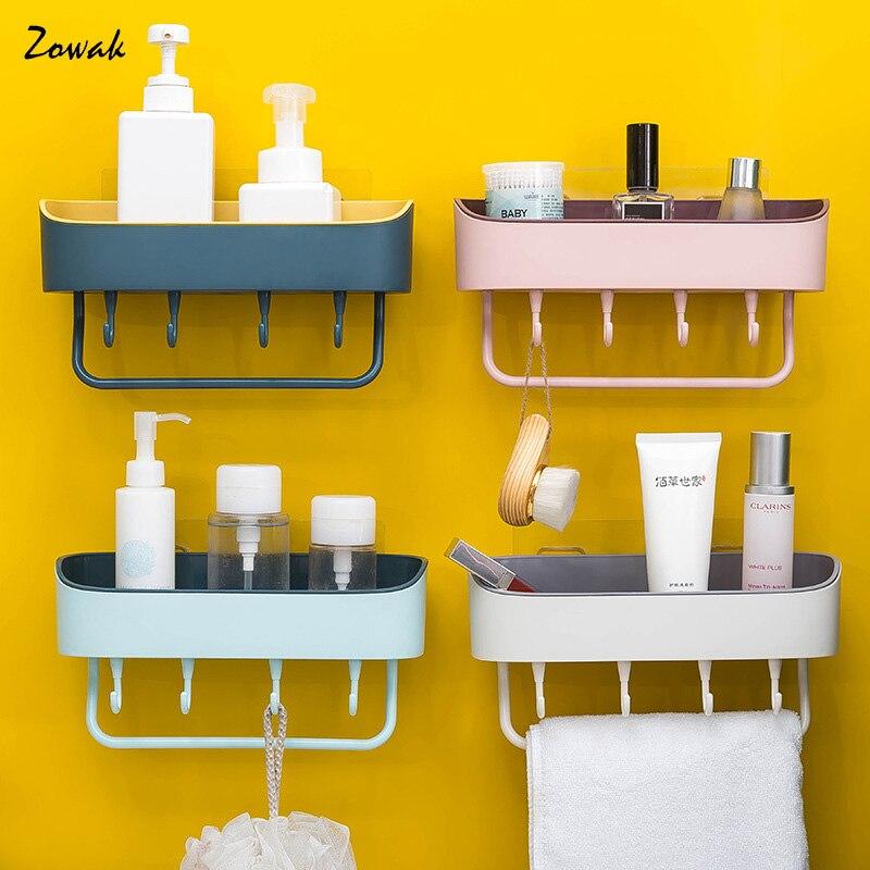 Bathroom Storage Shelf Bathroom Organizer Kitchen Corner Rack Shower Organization Shampoo Holder Towel Hook Wall Toilet Shelves