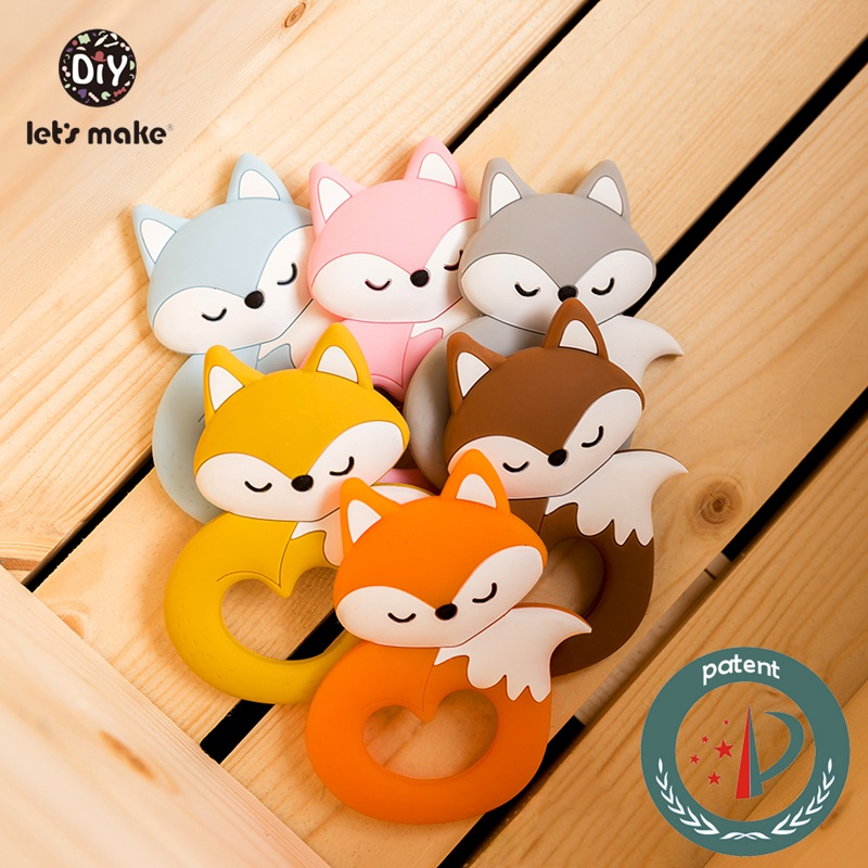 Let's Make 6pcs Baby Teether Tiny Rod Food Grade Silicone Teething For Baby Teeth Cartoon Fox Animals Shape Silicone Teethers