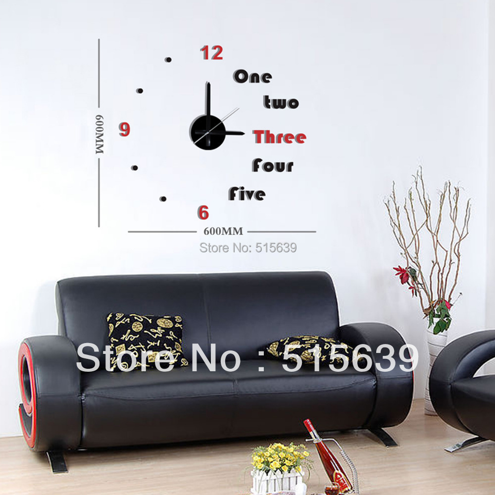 Diy Home Decor Wall Clock 3d Black Red English Stickers Art Time Novelty Watch Linving