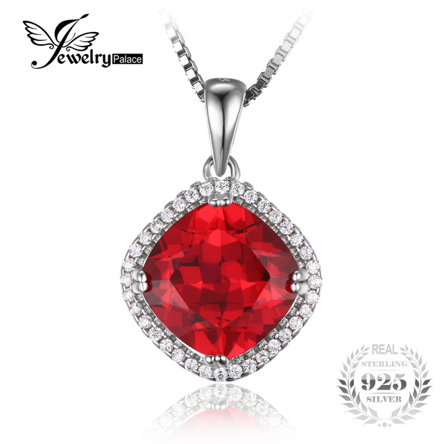 JewelryPalace Cushion 6.8ct Created Red Ruby Halo Pendant 925 Sterling Silver  2016 Hot Fashion Brand New Mother Gift No Chain