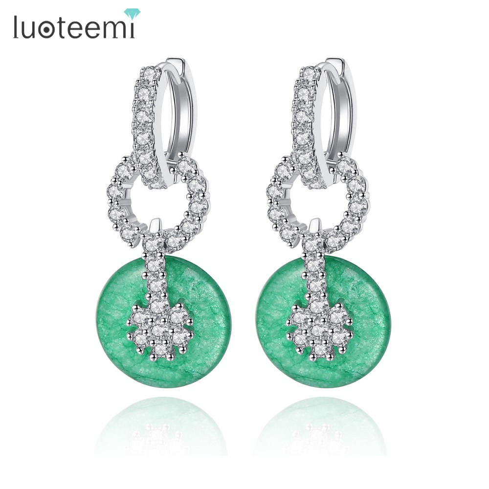 LUOTEEMI Brand New Fashion Vintage Green Color Stud Earrings Inlay Tiny Shining Zircon Jewelry For Women Party Accessories