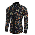 Men Shirt Real Cotton Polyester 2016 New Autumn England Style Personalized 3d Printed Shirts For Men Navy Casual Slim Clothes