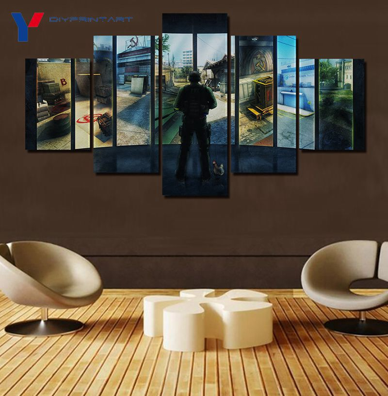 Game Cs Go Counter Strike 5 Pieces Wall Art Paintings ...