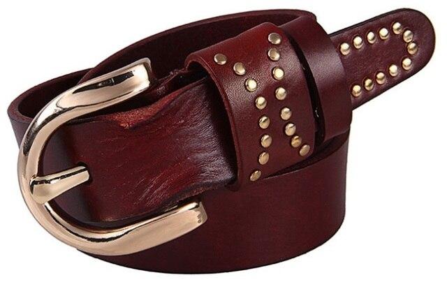 Ремни для женщин роскошные 2017 полное зерно 100% реальные натуральная кожа высокого качества способа дизайнер ceinture заклепки ремень красный верблюд