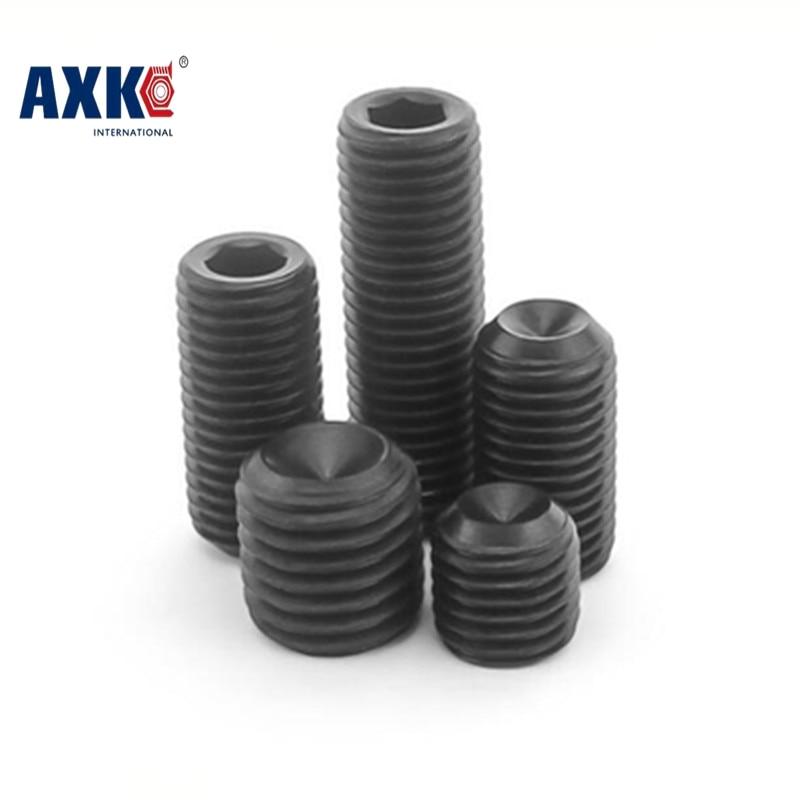 100pcs M2 M2.5 M3 DIN916 Black Carbon Steel Metric Thread Grub Screws Inner Hexagon Socket Set Screw 20pcs m3 m12 screw thread metric plugs taps tap wrench die wrench set