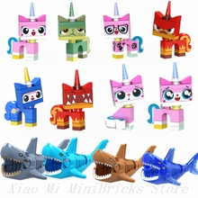 Legoing Super Heroes Movie Figures Unikitty Angry Astro Queasy Biznis Kitty Glasses Building Blocks Kids Toys Legoings Friends(China)