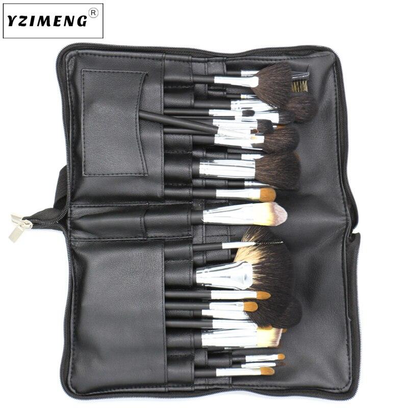 Pro 15 шт. набор кистей для макияжа Пудра основа для век консилер тушь для ресниц, кисть для губ инструмент черный/серебристый с сумкой - 5