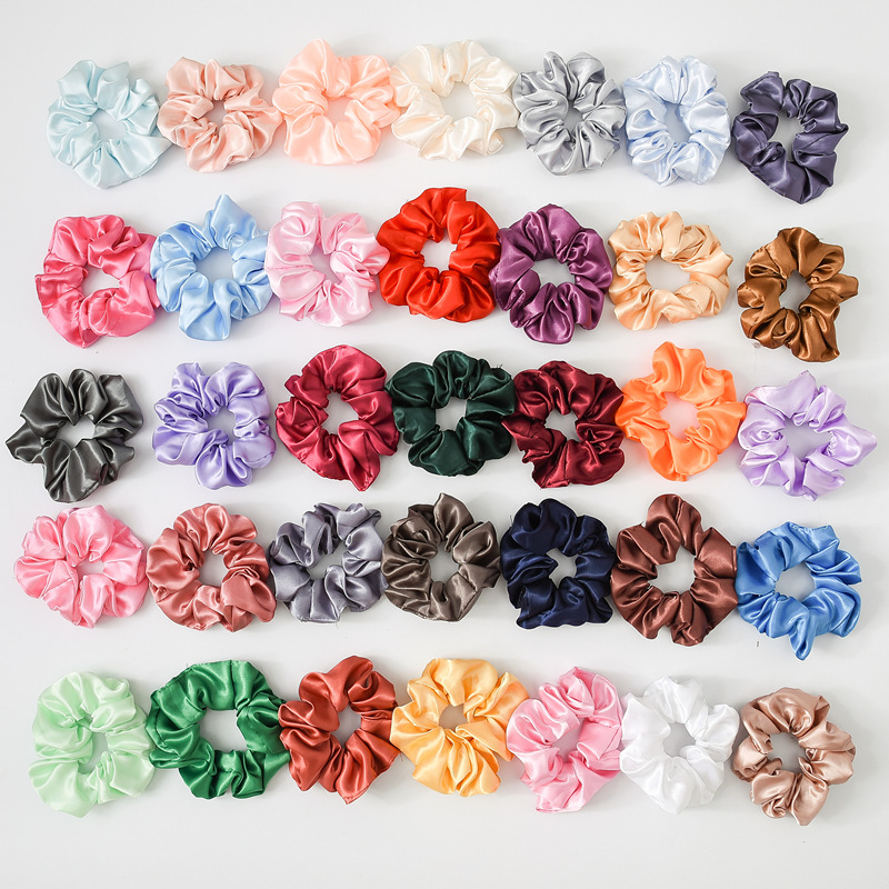 (35 Pieces/lot) Solid Satin Lady Hair Scrunchies Ring Elastic Hair Bands Bobble Sports Dance Soft Charming Hair Accessories