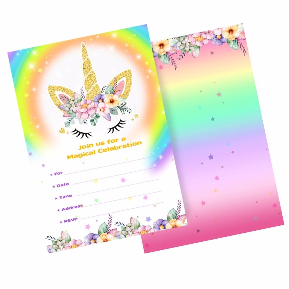 Aytai 100pcs Unicorn Invitation Cards Birthday Baby Shower Magical Rainbow Themed Party For Kids