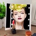 Tri-fold Espejo de Maquillaje con Luz LED Portátil de Viaje de Bolsillo Compacto Espejo de Maquillaje LED Espejo Plegable Espejo Cosmético de Viaje caliente
