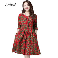 New Fashion Cotton Linen Vintage Print Plus Size Women Casual Loose Autumn Spring Dress Vestidos