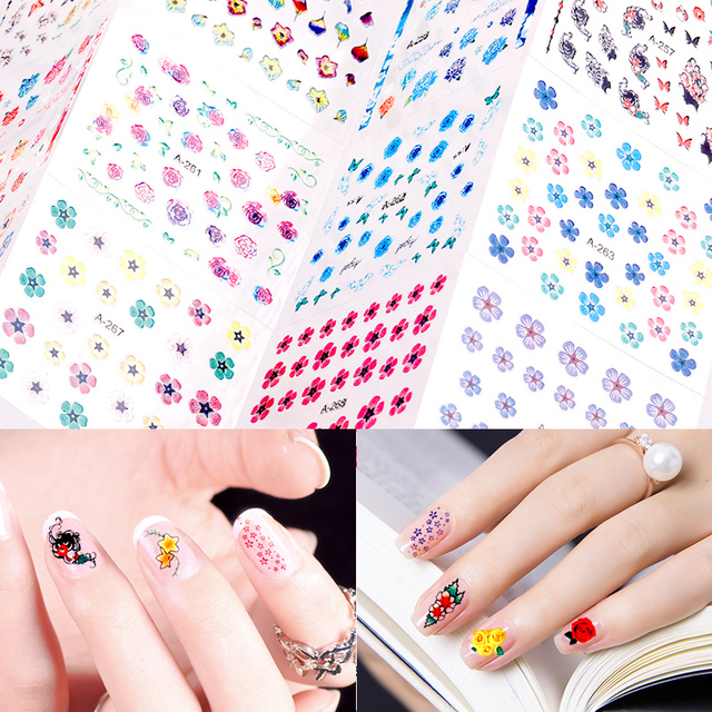 Blueness 30sheets Lot Gel Nails Art Stickers Flowers Pattern Design Manicure Decorations Supplies Accessories Nail