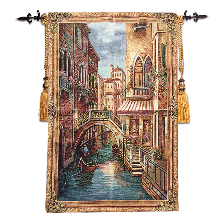 85*136 Belgium Jacquard wall hanging tapestries boutique living room carpet home fabric Mediterranean style mural Venice style85*136 Belgium Jacquard wall hanging tapestries boutique living room carpet home fabric Mediterranean style mural Venice style
