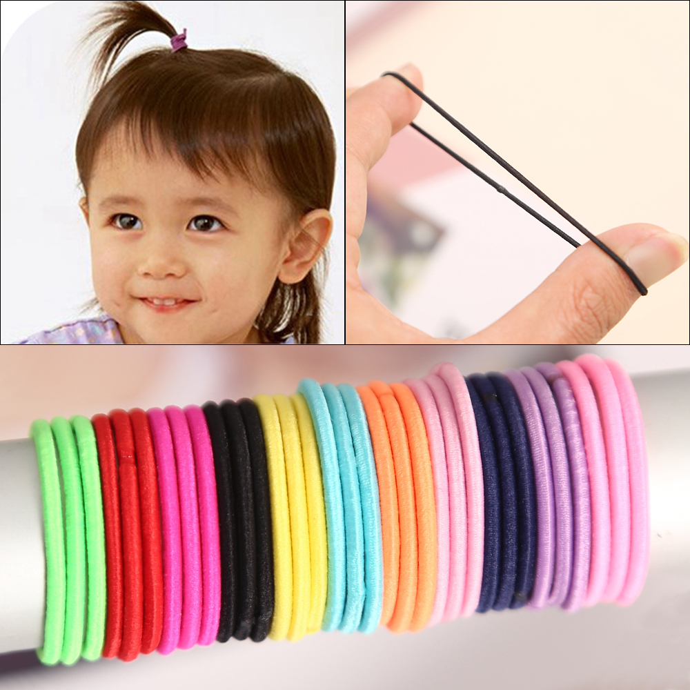 100pcs/lot 3CM Cute Baby Headband Girl Ponytail Hair Holder Hair Accessories Thin Elastic Rubber Band For Kids Colorful Hair Tie