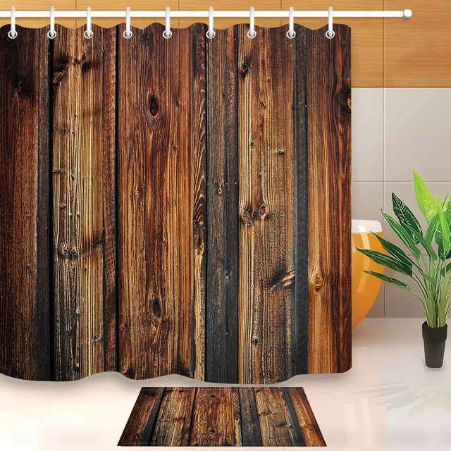 LB Rustic Wood Panel Brown Plank Fence Shower Curtain And Bath Mat Set Waterproof Polyester Bathroom