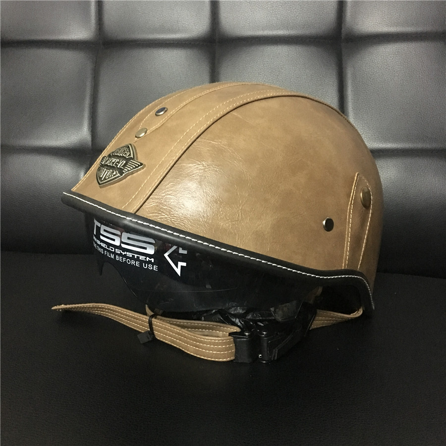 Retro Motorcycle Helmet Open Face Leather Helmet Harley Moto Motorcycle Helmet vintage Motorbike Vespa with Visor Goggles DOT