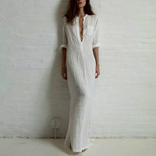 все цены на Summer Cotton Linen Long Maxi Dress Women Sexy Deep V Neck Party Dresses Casual Loose Boho Beach Dress Vestiods White Black