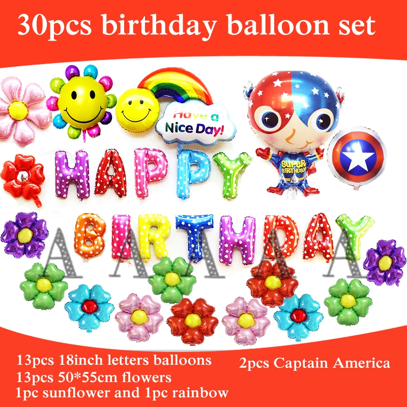 30pcs birthday party balloons Captain America foil material happy birthday ballo