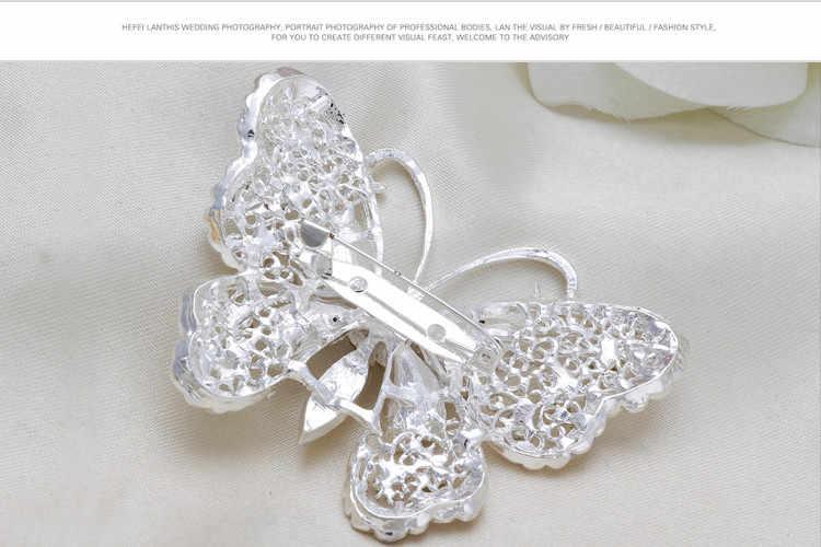 2018 New Hot Buket Bros Perhiasan Pernikahan Korea Berlapis Perak Serangga Kupu-kupu Berlian Imitasi Pengantin Bros Pin Wanita Bros