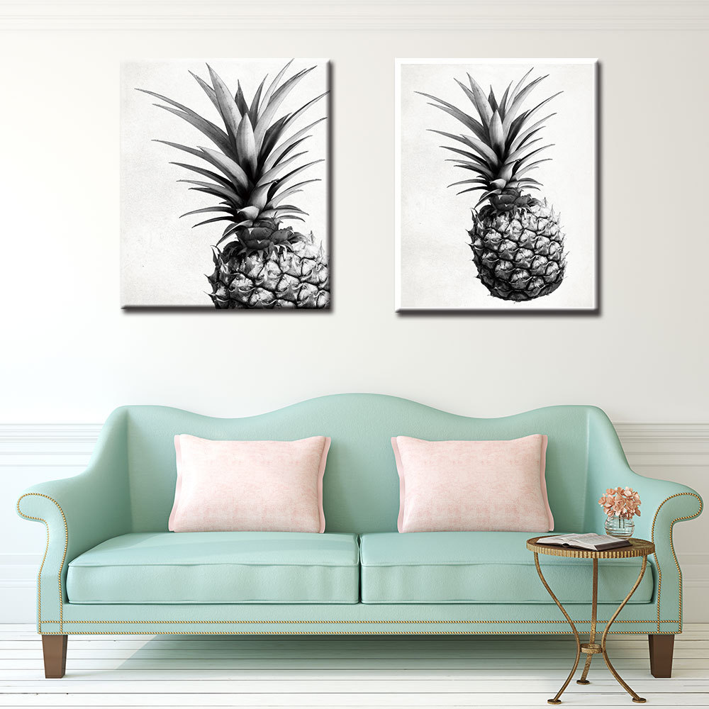 70*100cm New Pineapple Wall Art Canvas Posters Prints Nordic Love Quote Paintings Black White Picture for Living Room