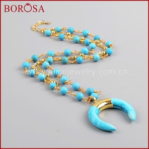 Image 4 - BOROSA זהב צבע כחול ירקרק שמיים כחולים Howlite סטון סהר צופר שכבה G1186 תכשיטי אופנה שרשרת לנשים