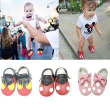 Hot Sale High Quality Baby Girls Shoes Genuine Leather Mickey And Minnie Toddler Baby Moccasins First Walkers Infant Shoes