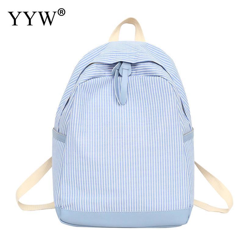 Women Backpack Bookbags Canvas Teenager Black Large-Capacity Mochila-Feminina Striped
