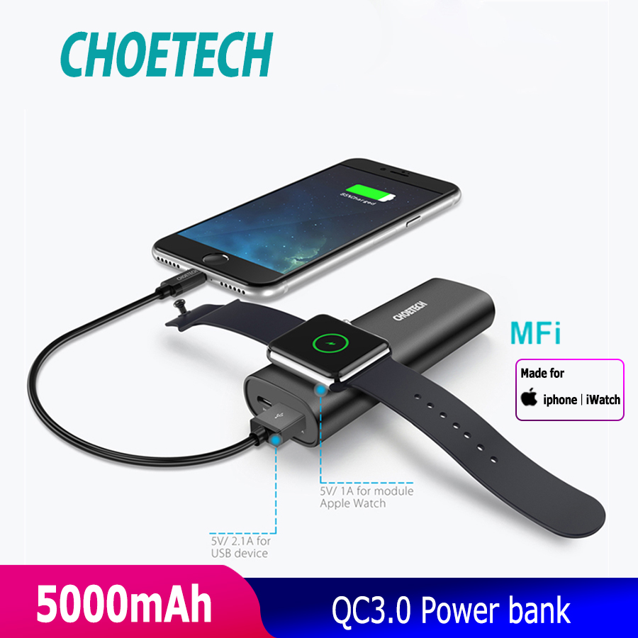 CHOETECH Qi Wireless Charger Power Bank 5000mAh Quick Charge3 0 for apple watch 4 3 2