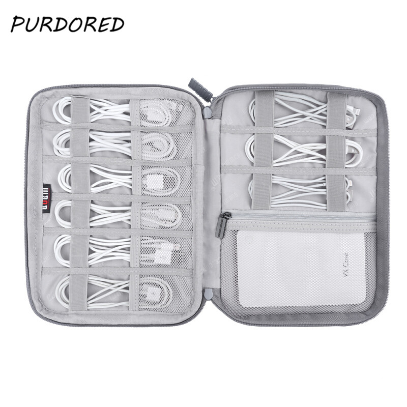 PURDORED 1 Pc USB Data Cable Storage Bag Travel Digital Organizer Earphone Wire Bag Travel  Case Pouch Electronics Accessories