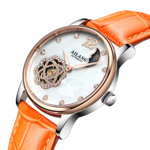 AILANG Fashion Dress Ladies Hollow Automatic Mechanical Watch Tourbillon Luxury Leather Waterproof Women Clock relogio feminino