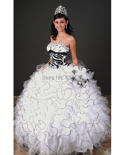 9475ec2374 DAQ1670 Free Shipping new sweet 15 animal print ball gown black and white  zebra sweet 16 corset puffy Quinceanera Dresses