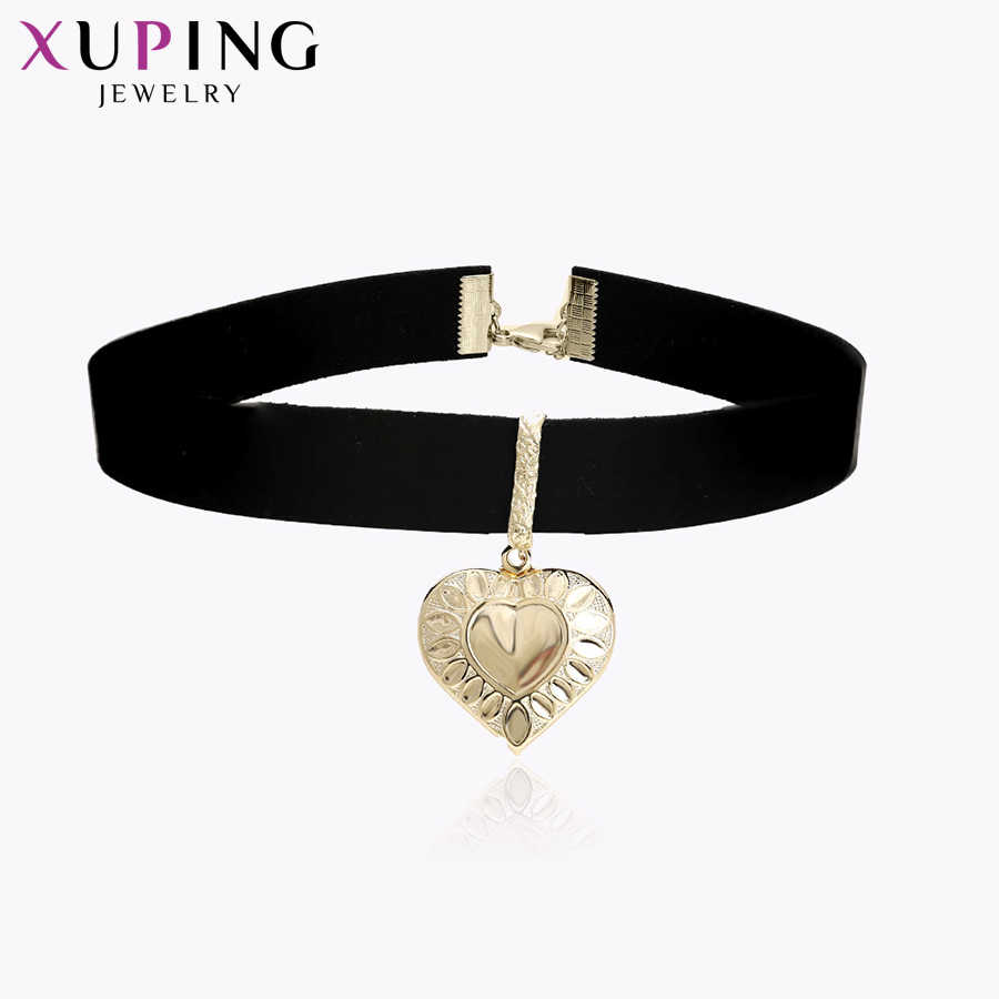 Xuping Elegant Heart Shape Pendant Choker Necklace Light Yellow Gold Color Jewelry for Women Christmas Day Gift S69-43611