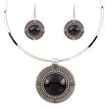 Solomemo Boho Round Pendant Jewelry Sets Women Ethnic Choker Collars Necklace Earrings Set Vintage jewellery TL9144