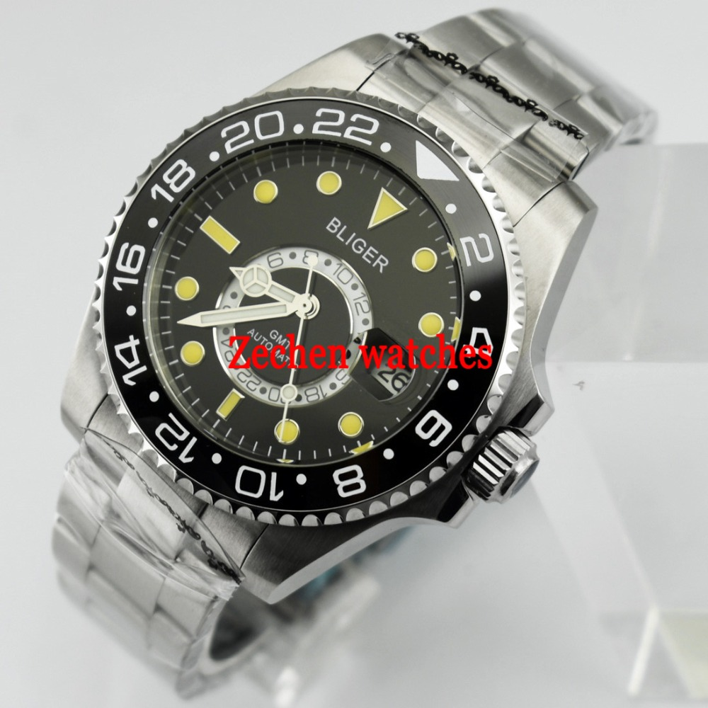 Bliger 43mm watch Ceramic Bezel Sapphire Steel GMT Automatic Luminous Auto date Mens Watch цена и фото
