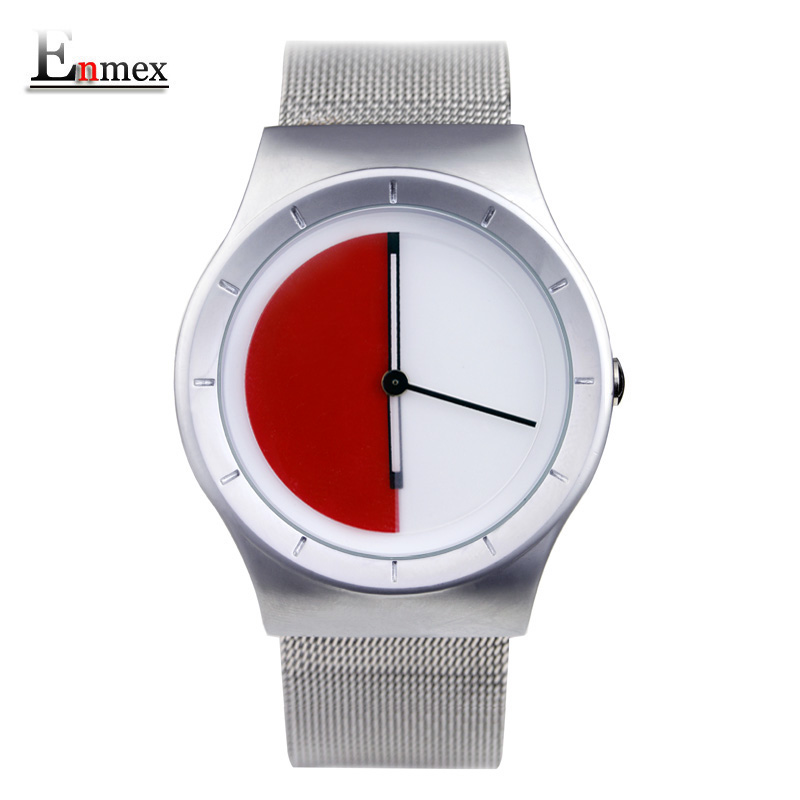 2017 men s gift Enmex unique design leather creative dial Changing patterns simple fashion for young