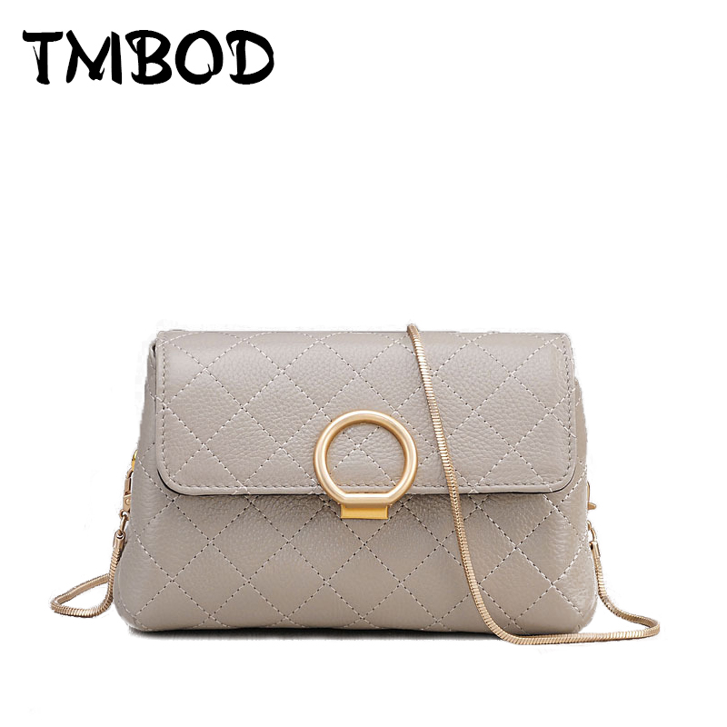New 2018 Design Women Plaid Chains Round Metal Ring Baguette Messenger Bag Split Leather Handbags For Female bolsas an777 stylish bicycle lock and round pendant double sweater chains for women