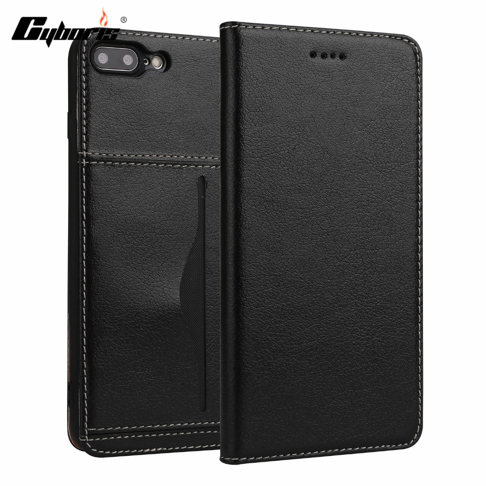 CYBORIS Luxury Business Top Genuine Leather Flip Case For iPhone7 8plus Ultra Slim capa for Apple iPhone7plus Wallet Card Holder ...