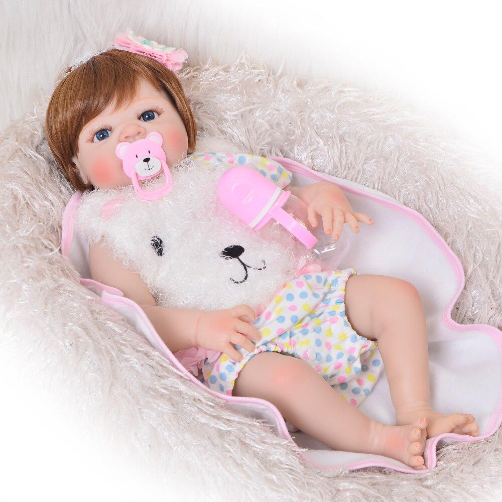 23 pouces Bebes Reborn fille poupée pleine Silicone vinyle reborn bébé poupées réaliste princesse bébé jouet poupée pour les cadeaux de la journée des enfants - 4