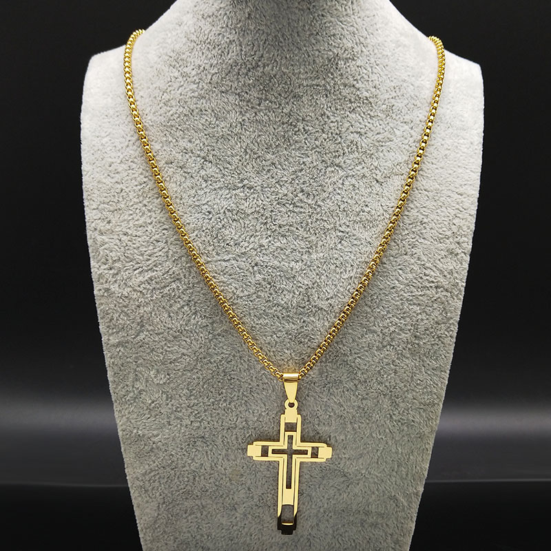 Image 2 - 2019 Fashion Cross Stainless Steel Choker Necklace for Men Gold 