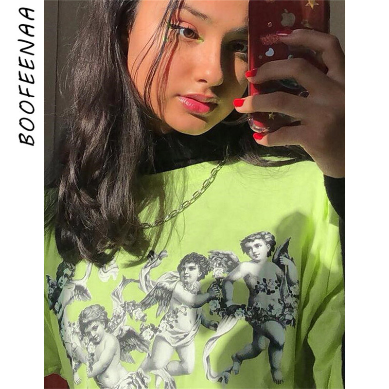 BOOFEENAA Angel Print Lime Neon Green T Shirt Women Summer Tops 2019 Streetwear Vintage Casual Oversized Graphic Tees C94-AA51
