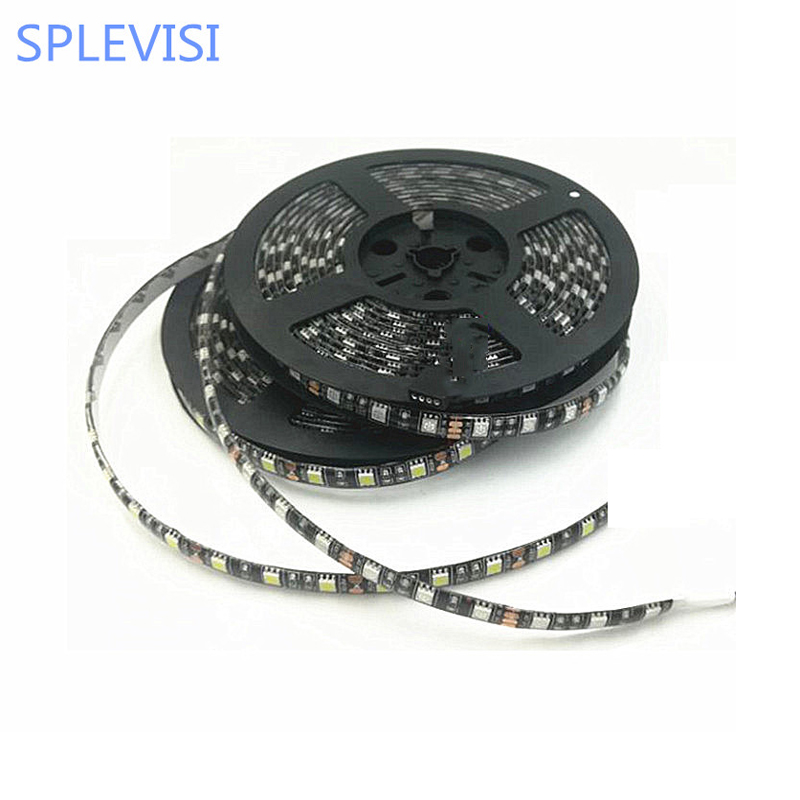 SPLEVISI DC12V 5m 60 led / m Svart PCB Board 5050 LED Strip Light Varm Vit CoolWhite RGB För hembil hotell KTV Bar