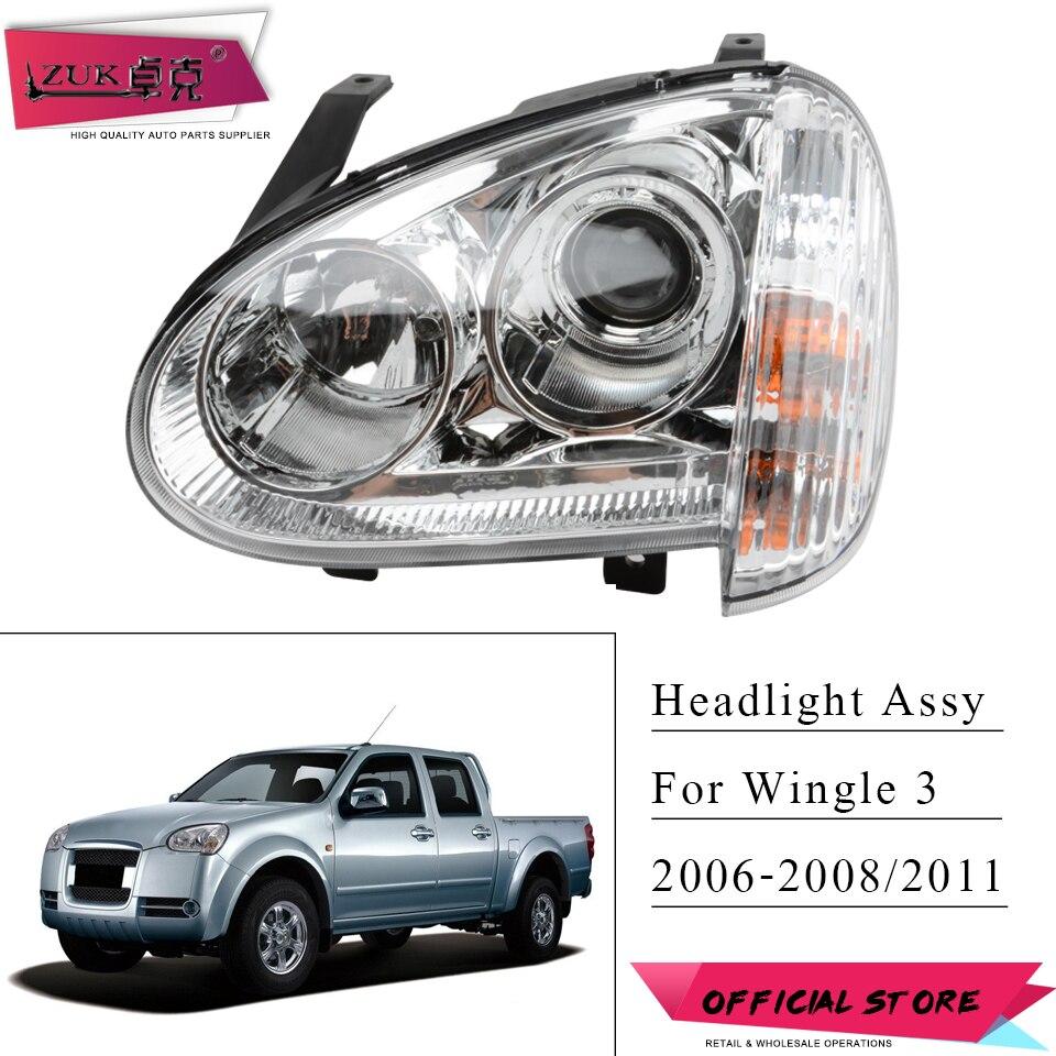 ZUK Front Bumper Headlight Headlamp Head Light Lamp For Great Wall Wingle 3 2006 2007 2008 2011 Manual Type / Electric Type
